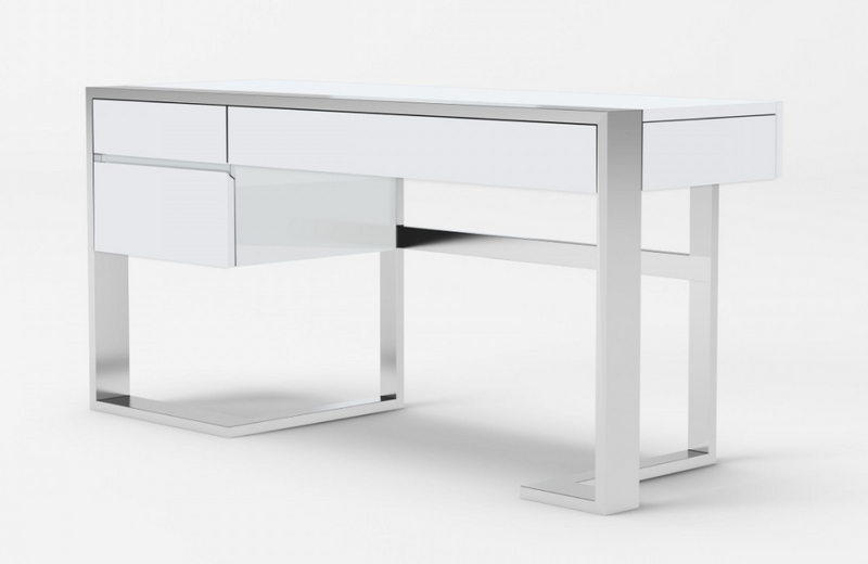 Flint - Modern White High Gloss & Stainless Steel Desk