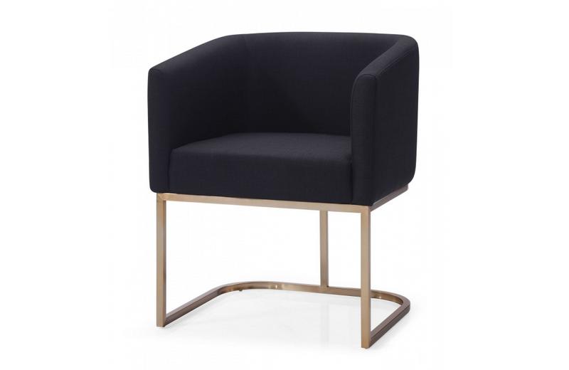 Yonkers - Modern Black & Antique Brass Dining Chair