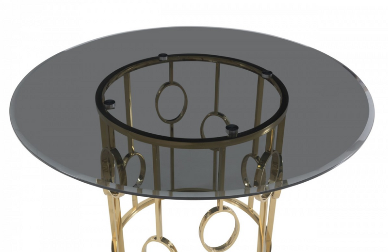 Fillipp - Modern Smoked Glass & Champagne Gold Dining Table