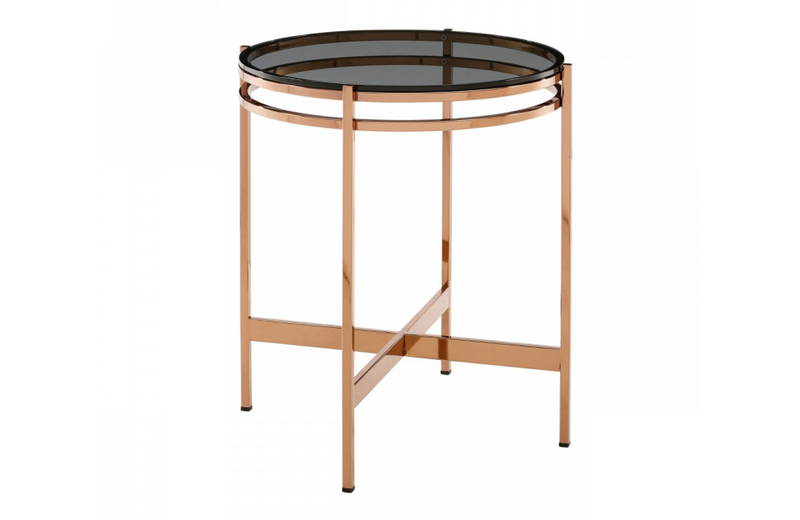 Bloss - Modern Smoked Glass & Rosegold End Table