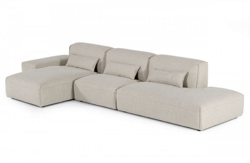 Billings - Modern Beige Sectional with Ottoman