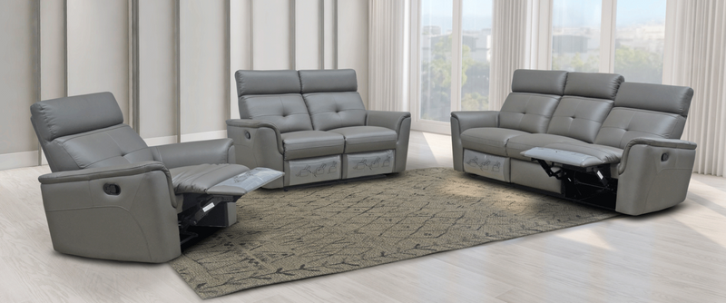 Madera Dark Grey w/Manual Recliner living room furniture set