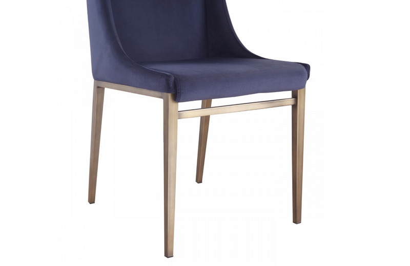 Mobile - Contemporary Blue Velvet & Antique Brass Dining Chair (Set of 2)