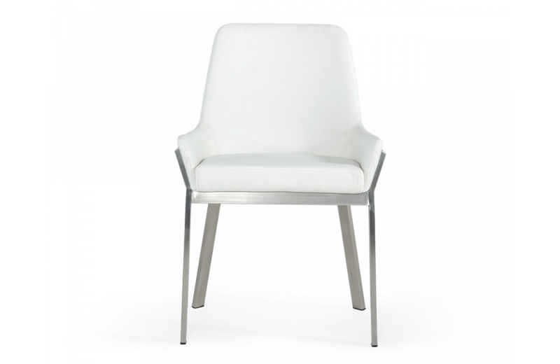 Grove - Modern White & Brushed Stainless Steel Dining Chair