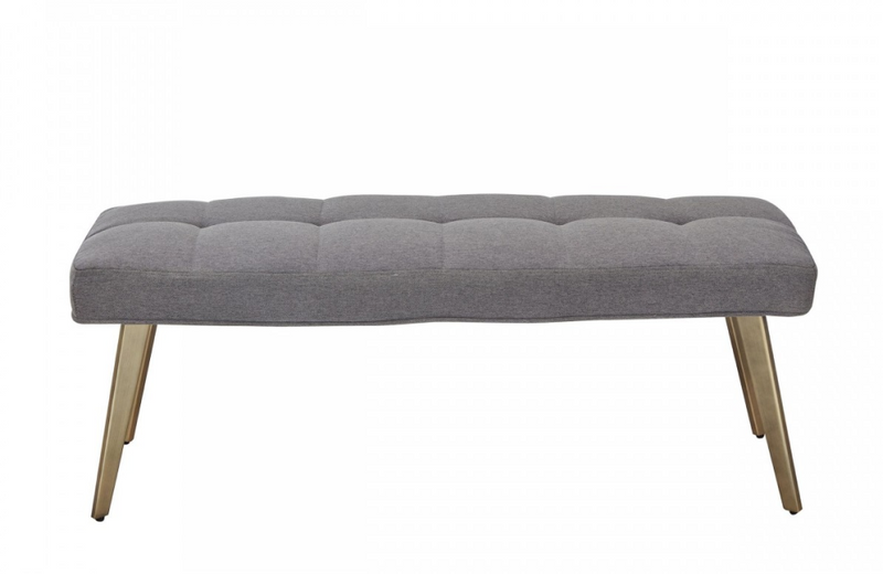 Cary - Contemporary Grey & Antique Brass Bench