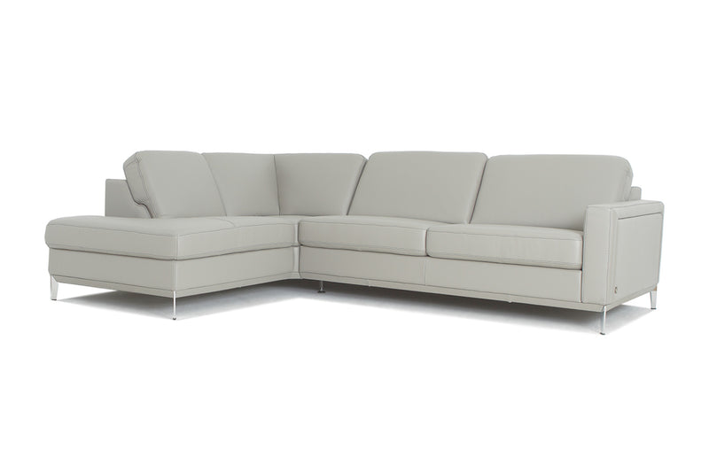 Frankfurt Light Gray Leather Sectional (Mini)
