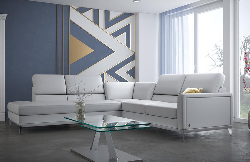Frankfurt Light Gray Leather Sectional