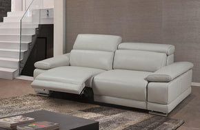 Grace Modern Light Gray Leather Reclining Sofa