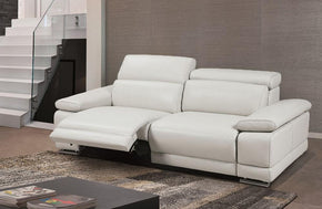 Grace Modern White Leather Reclining Sofa