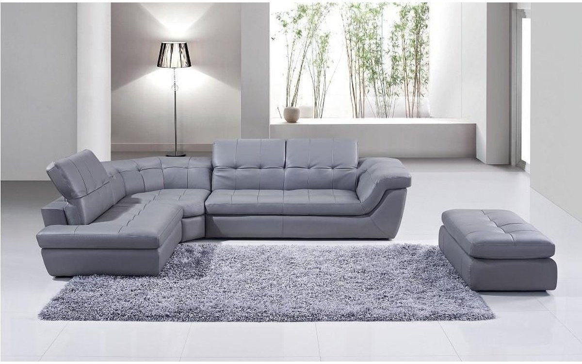 Awesome 397 Gray Italian Leather Sectional Sofa Inzonedesignstudio Interior Chair Design Inzonedesignstudiocom