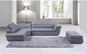 397 Gray Italian Leather  Sectional Sofa