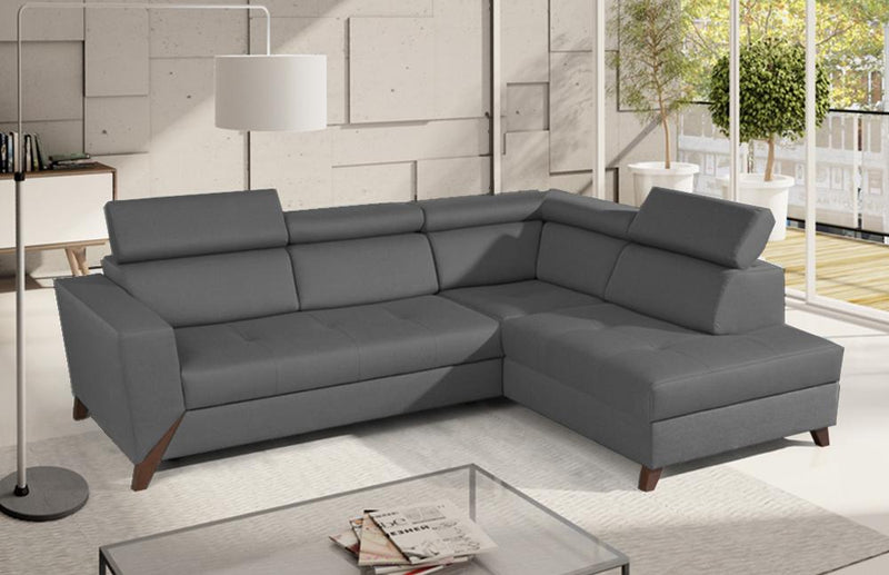 Hamburg Grey Fabric Sectional with bed and storage