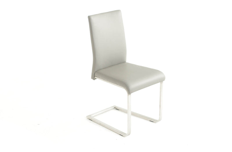 Havel Gray Leather Modern Dining Chair (set of 2)