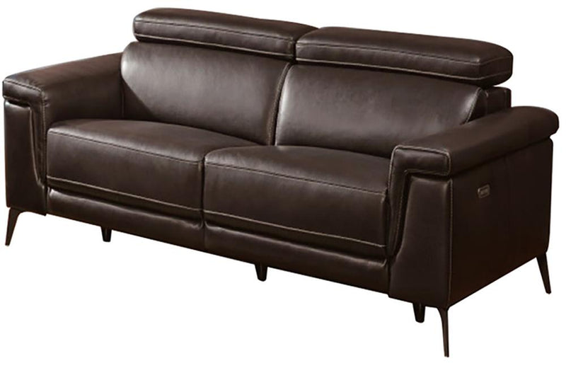 Everly Brown Premium Leather Loveseat