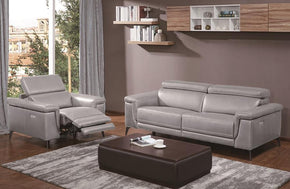 Everly Gray Premium Leather Sofa Loveseat and Chair
