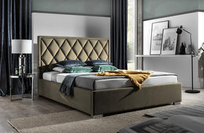 Lippe Upholstered Platform Bed in Sahara Gold