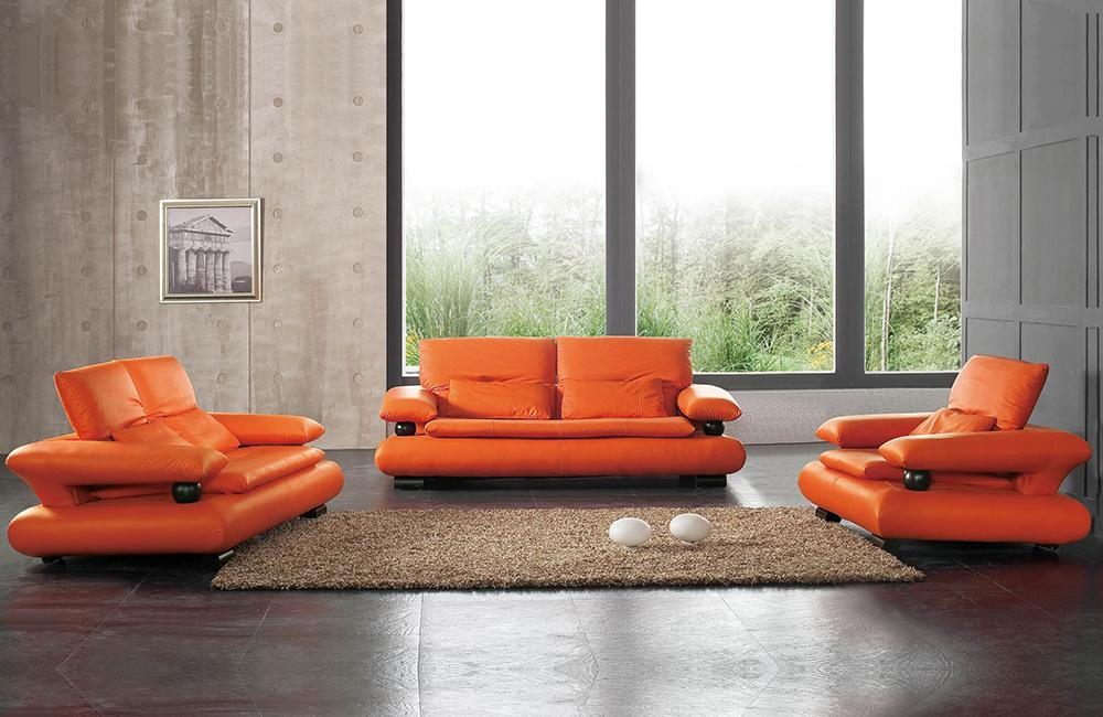 410 Modern Orange Leather Sofa Set - Paramus Mega Furniture
