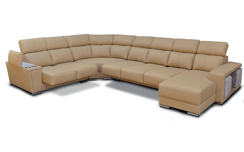 8312 Beige Leather Sectional w/ Sliding Seats