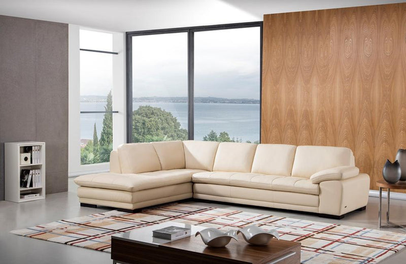 Santino Beige Leather Sectional Sofa
