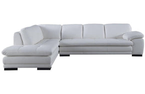 Santino White Leather Sectional Sofa
