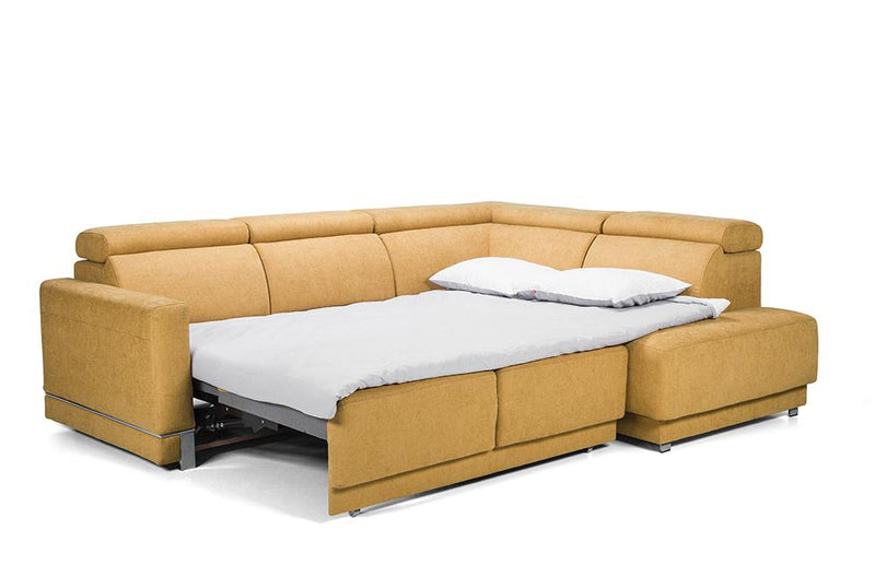 Marburg Yellow Sectional with sofa bed and storage