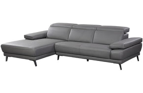 Hudson Grey Chaise Leather Sectional Sofa