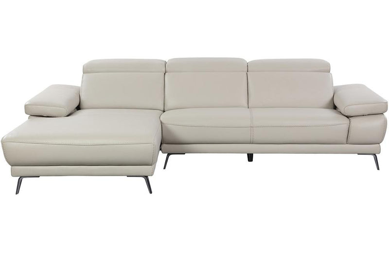 Hudson Smokey Taupe Chaise Leather Sectional Sofa
