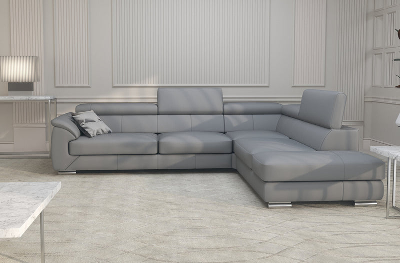 Nicole Gray Leather modern sectional