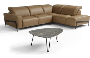 Alvin Taupe Leather Reclining Sectional Sofa