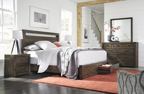 Modern Loft Panel Storage Bed Brownstone