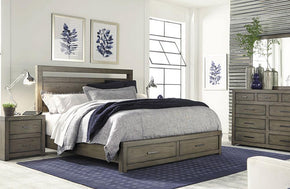Modern Loft Panel Storage Bed Greystone