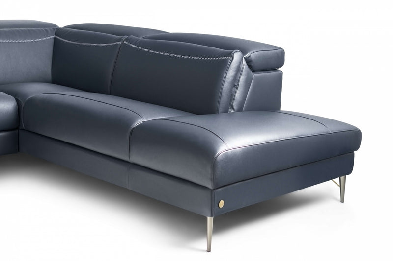Pauline Blue Leather Sectional with power recliner
