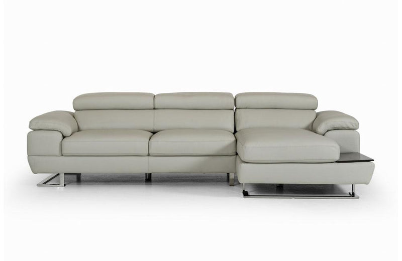 Invictus Modern Gray Leather Sectional Sofa