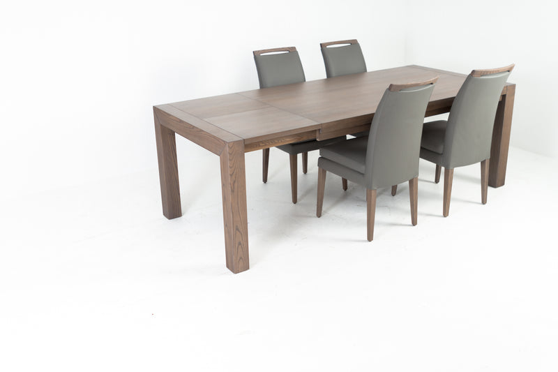 RHINE ASH GRAY TABLE WITH 4 ELKE GRAY LEATHER CHAIRS Dining Room Set