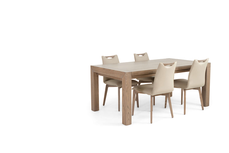 RHINE ASH GRAY TABLE WITH 4 RITZ BEIGE LEATHER CHAIRS