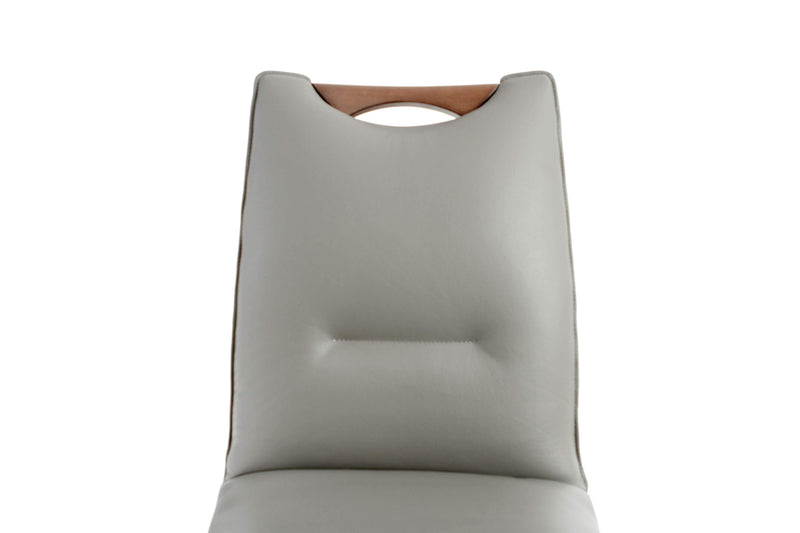 Ritz Walnut Grey Leather Dining Chair