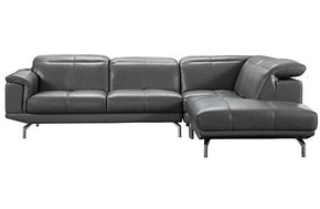 Fabio Grey Leather Sectional Sofa Dark Brown