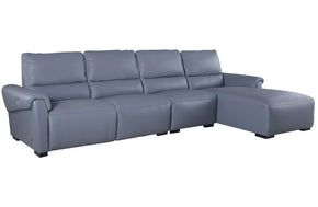 Aldous Aqua Leather Sectional Sofa