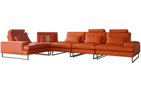 Kinsley Orange Leather Sectional Sofa