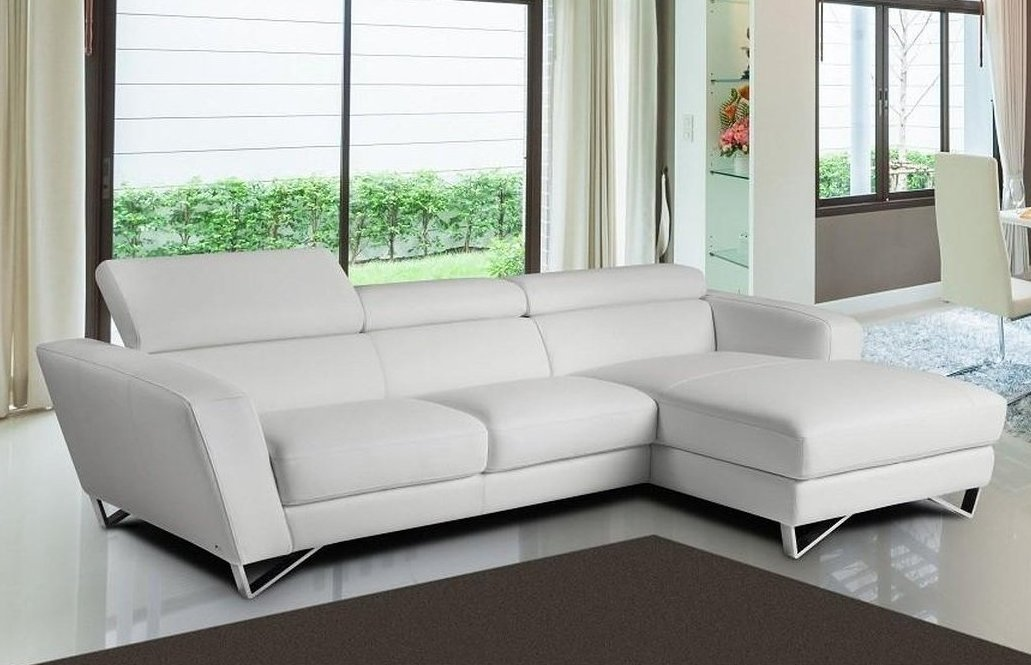Sparta Mini White Italian Leather Sectional Sofa