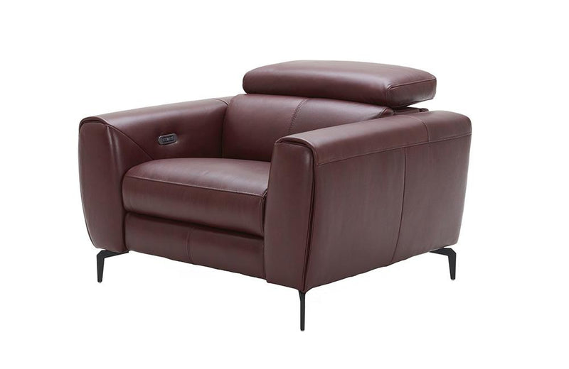 Scuzzo Merlot Reclining Leather Sofa