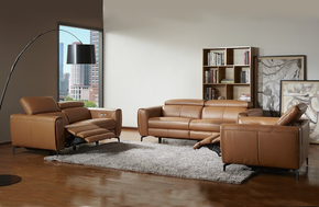 Scuzzo Caramel Reclining Leather Sofa