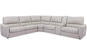 Simon Grey  6 PC Leather Sectional Sofa