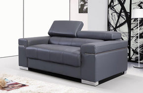 Vista Leather Loveseat in Grey