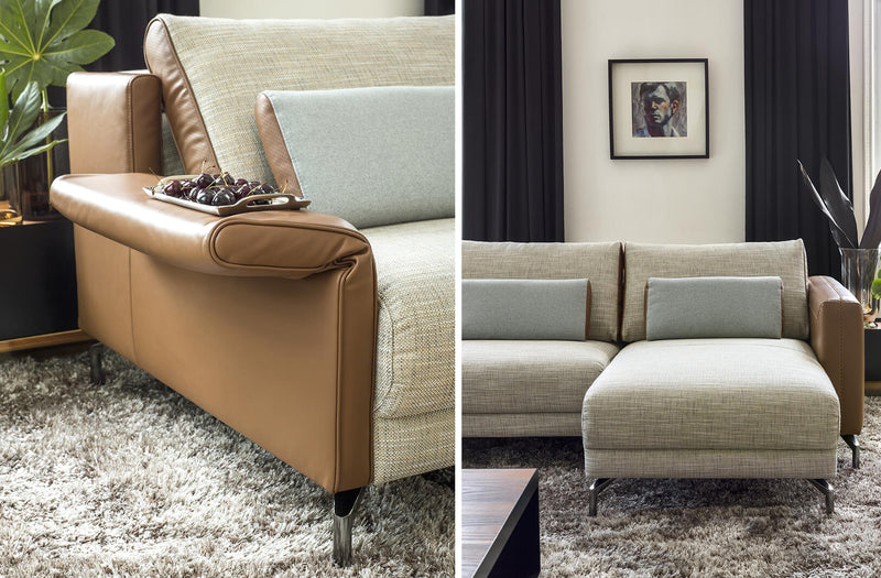 Stuttgart beige fabric caramel leather sectional