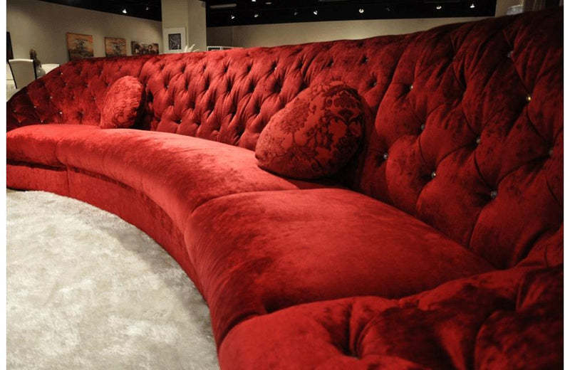 Cosmopolitan Modern Tufted Fabric Sectional Sofa Red