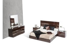 Picasso Italian Modern Lacquer Bedroom Set Brown