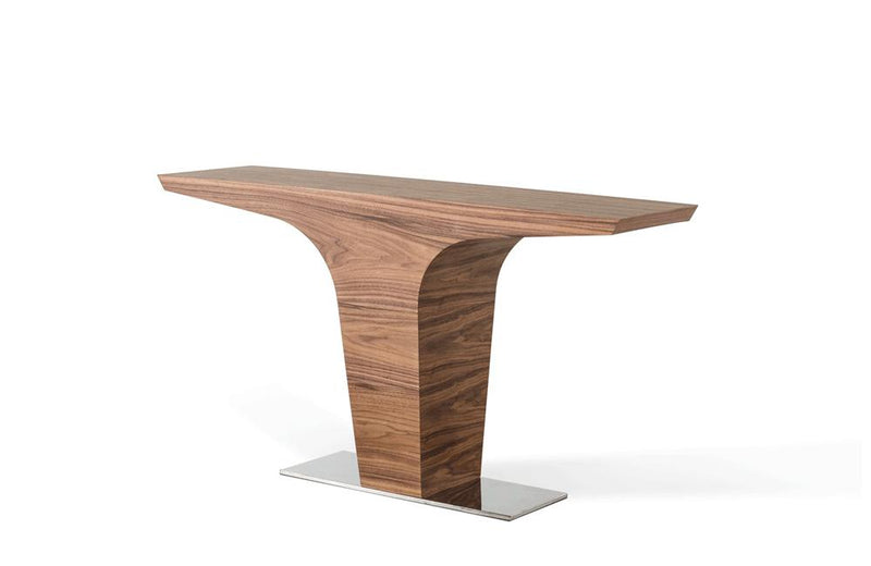 Bismarck Contemporary Walnut Console Table Brown