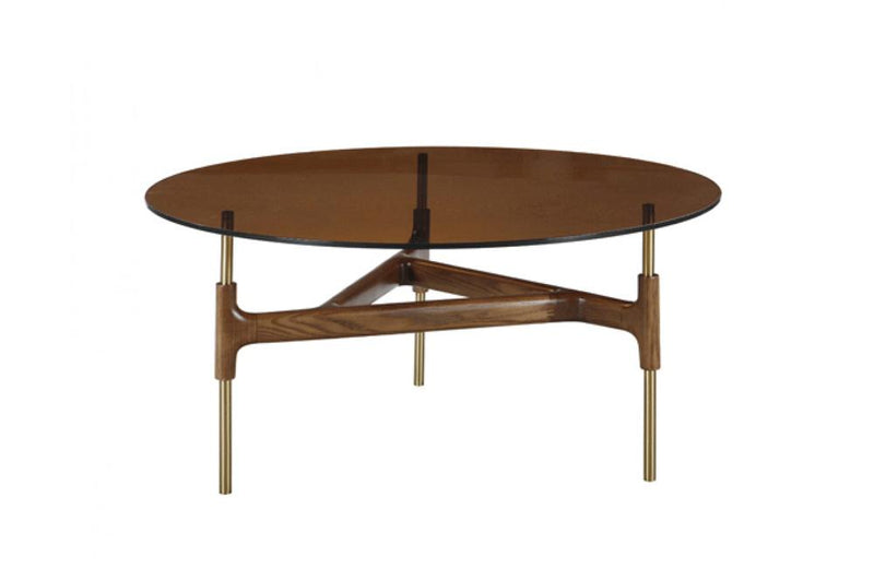 Lawson Modern Round Walnut & Glass Coffee Table