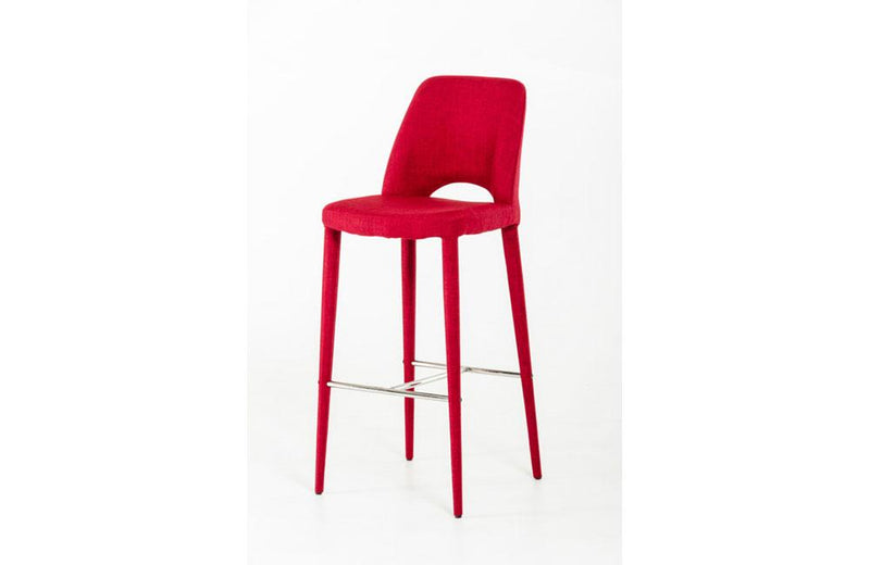 Williamette Modern Fabric Bar Stool Red